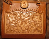 Hand Tooled Floral Panel Shoulder Bag