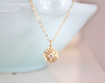 Gold Necklace, Dainty Gold Necklace, Gold Disc Necklace, Tiny Gold Necklace Bridesmaid Necklace gifts for her best friend gift mothers day