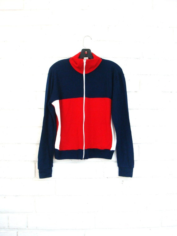 80's COLORBLOCK TRACK JACKET vintage soft knit zip up S red, white blue