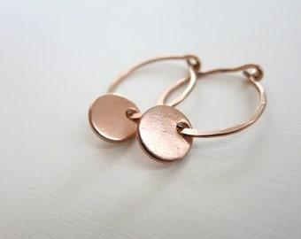 Gold Hoop Earrings Rose Gold Disc Earrings Tiny Hammered Hoops