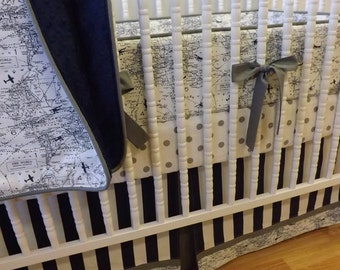 Aviation Crib Bedding- Boy Airplane Baby Bedding- MADE to ORDER- 4 piece Aviation Bedding- Boy Crib Bedding- Navy and Gray