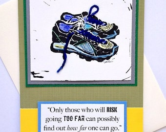 Running Shoe Art Block Print, Hand-stitched, Greeting Card for Runners - Risk Going Too Far T.S. Eliot quote or Personalized Message