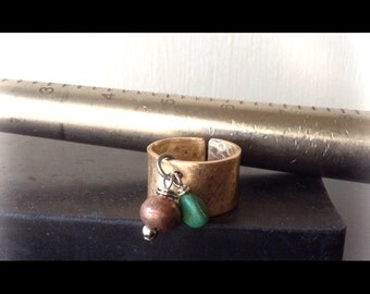 Bronze, Copper and Turquoise Cuff Ring