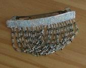 Blue and white seed bead hair barrette with dangle fringe