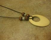 wood necklace, walnut wood, wood jewelry, leather necklace, womens wood necklace, ladies wood necklace, leather wood necklace