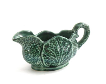 Cabbage Leaf Creamer Container Cup- Outdoor Gardening Green Leaf Table Top Decor Coffee Creamer Farm to Table- Pitcher Milk Creamer-