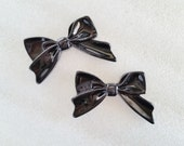4pcs - Black Sweetheart Bow Decoden Cabochon (45x30mm) BM10008