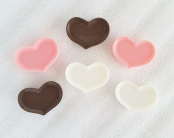 6pcs - Chocolate Heart Miniature Dollhouse Plate Flatback Decoden Cabochon (35x25mm) MS10011