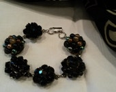 Vintage cluster earring black beaded bracelet