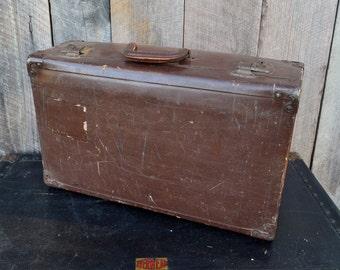 Vintage Brown Suitcase Fiberboard Tan Interior Travel Storage Photo Prop Wedding Reception Cake Stand 1940's