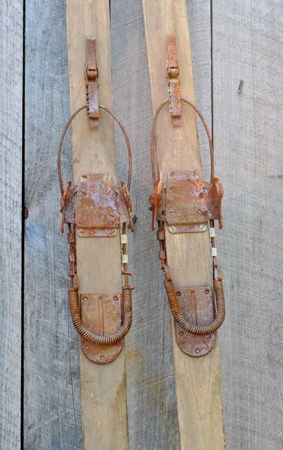 Antique Wooden Snow Skis Kandahar Bindings 82 Rustic
