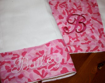 Pink Camo Burp Cloth - Set of 2 - Personalized Baby Gift - NAME/Monogram can be added
