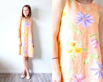 Vintage Small // Floral orange dress // boho summer hippie dress // summer dress // dress // orange dress // XS small dress // summer floral