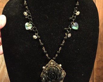 Black Rose Cameo Necklace
