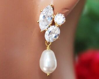 Crystal Cubic Post Wedding Earrings, Pearl Drop Bridal Earrings, Gold Crystal Drop Bridesmaid Earrings, Bridal Accessories, Gold Crystals