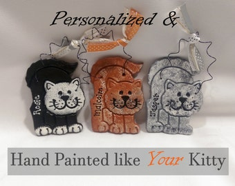Personalized Hand Painted Cat Ornament, Kitten Ornament, Cat Decoration, Personalized Cat Lovers Gift,  Christmas Decoration