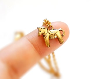 20% Off SALE Tiny Pony Horse Charm Bracelet - Daily Wear - Simple Gift Ideas - GN01