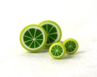 Tiny Sliced Lime Post Earrings - Green Lemon Earrings - 5mm / 10mm - Gift Idea - Lime Earrings