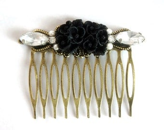 20% OFF Black Flower Vintage Rhinestone Collage Comb - OOAK Victorian Style Flower Collage Hair Comb - VCC008