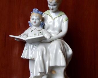 "Russian Soviet Polonoe ZHK  porcelain Rare figurine 1964 ""READING"""