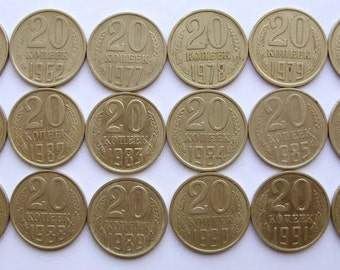 Set of 18 Coins Coin USSR Russian Soviet 20 kopeks 1961, 1962, 1977-91 L M