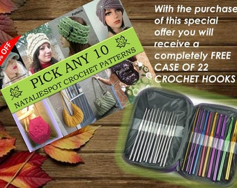 40%: Any 10 of Crochet Patterns - PDF FILES + FREE Case of 22 Crochet Hooks