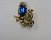 Vintage Owl on Branch Brooch with Aqua Stone and Enamel Accents