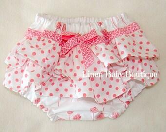 Coral Pink Baby Girl Ruffled Bloomers. Ruffled Panties. Diaper Cover. Pinkish Coral