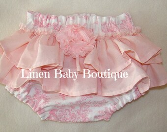 Pink Toile Baby Girl Ruffled Bloomers. Ruffled Panties. Diaper Cover.