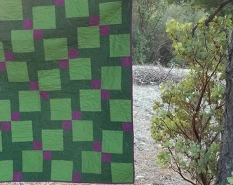 Purple And Green Oversized Baby Quilt, Lap Quilt, Picnic Cloth