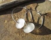 SALE SIMPLE Beach Glass Hoop Earrings