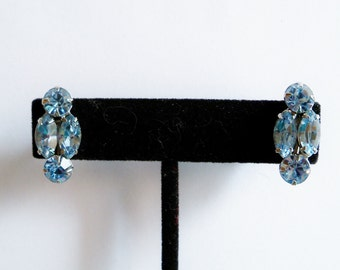 Blue Rhinestone Earrings Vintage Wedding Jewelry Bridal Party Prom Jewellery Accessory Gift Guide Women Hollywood Regency Renaissance