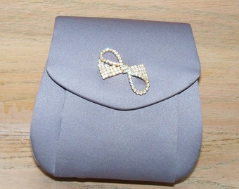 Restyled Purse Evening Grey Gray Ribbon Brooch Glam Bridal Party Wedding Prom Women Special Occasion Gift for Her Christmas
