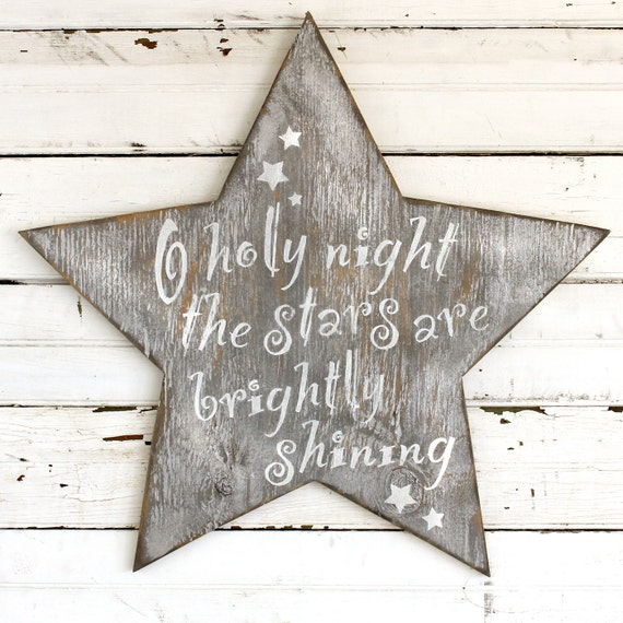 Holy night star wooden star holiday winter christmas decor oh for O holy night decorations