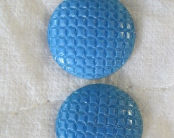 Vintage 1960's Set of Two Blue Classy Buttons