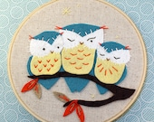 Owl Embroidery Kit, Felt Applique and Embroidery Kit, DIY Embroidery, Beginner Sewing Kit, Hand-Stitching - 'Hoot' Hoop Kit, Heidi Boyd