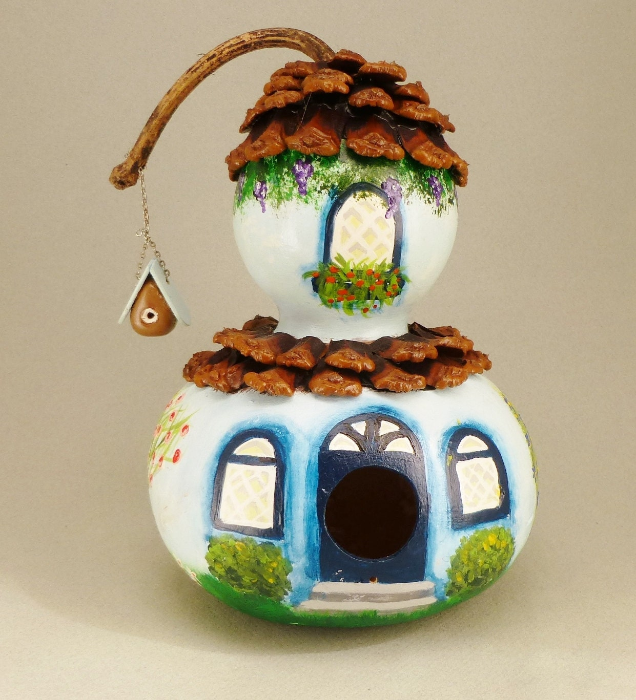 Hand Painted And Decorated Blue Bird House Gourd By Terrystuff