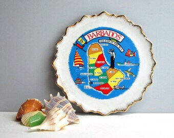Barbados Island in the Sun decorative plate - vintage 1970s souvenir travel plate - retro Caribbean travel - eclectic plate wall decor