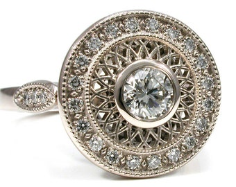 Lace Filigree Diamond and 14k Palladium White Gold Antique Art Deco Styled Engagement Ring - Pave Diamond Halo
