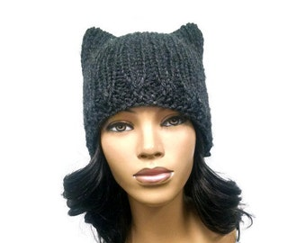 Instant Download Loom Knitting Pattern/ Easy cat hat/ cat ears beanie pattern pdf pattern diagrams included