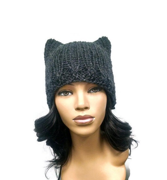 Knitting Patterns For Hats With Cat Ears : Instant Download Loom Knitting Pattern/ Easy cat hat/ cat ears