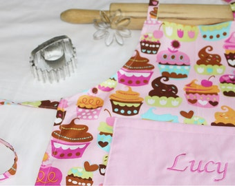 Personalized Pink Sweet Cupcakes Child Apron with light pink pocket - made to order