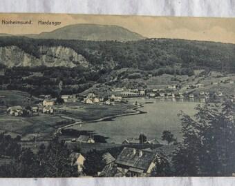 Antique 1912 Norge Norheimsund Hardanger Norway Postcard Brekort Fra Norge