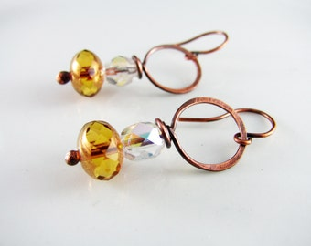 Wire Wrapped Earrings Copper Jewelry Amber Earrings Wire Wrapped Jewelry Copper Earrings Hoop Earrings