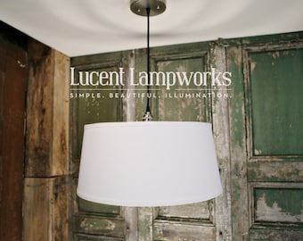 "Drum Shade Pendant Lighting With 18"" Taper Drum in White Linen Fabric Drum Shade"