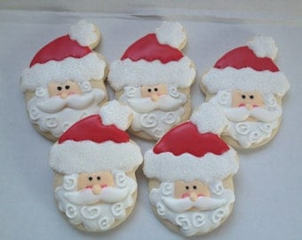 Santa Christmas Cookies, holiday cookies, santa cookie, Santa, cookie exchange, Christmas Favors, Decorated Cookies, Cookies, Christmas Gift