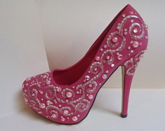 SALE Pink Fuchsia Jeweled Hand Painted Pumps