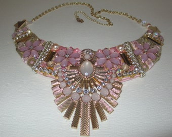 Bib Statement Necklace Pale Pink Gold Fabulous Deco