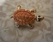 Vintage 1980s to 1990s Turtle Pin Gold Tone Green Eyes Enamel Brooch Brown Tiny Little Taiwan