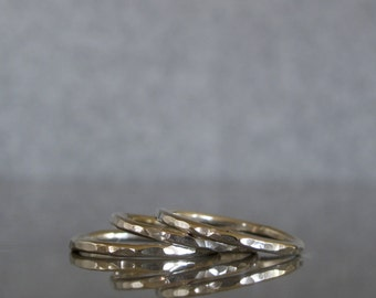 Thin silver stacking ring, Thin hammered ring, stackable ring made to order, ONE delicate ring